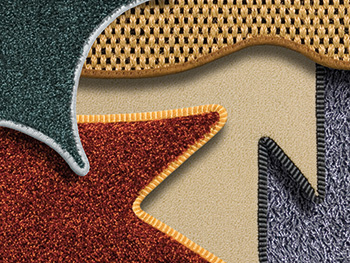edged pieces of carpet in different forms